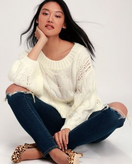 Alden Cream Cropped Balloon Sleeve Knit Sweater