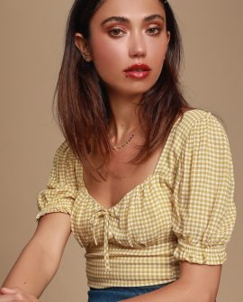 Alegra Mustard Yellow Gingham Puff Sleeve Crop Top