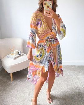 Alexia Printed Midi Dress in Orange