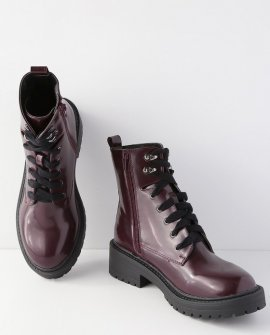 Alicee Burgundy Lace-Up Combat High Heel Boots