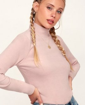 All Bundled Up Light Pink Fleece Mock Neck Top