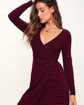 All Day Everyday Burgundy and Black Striped Wrap Dress