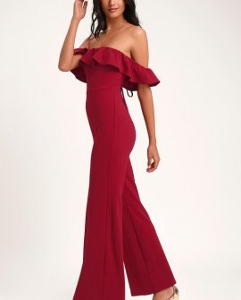 All I Want Wine Red Lace-Up Off-the-Shoulder Jumpsuit