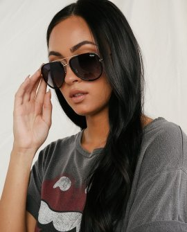 All In Black and Gold Aviator Sunglasses
