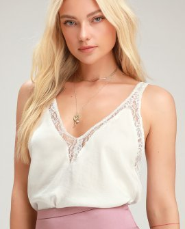 All In My Head Ivory Lace Satin Tank Top