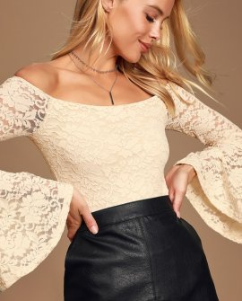 All Of Me Ivory Lace Bell Sleeve Bodysuit