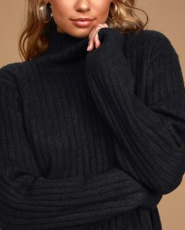 All Set Black Ribbed Knit Backless Turtleneck Sweater
