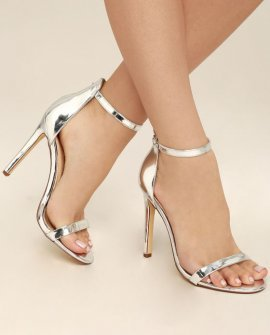 All-Star Cast Silver Patent Ankle Strap Heels