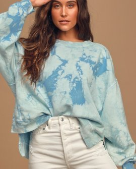 All Warmed Up Blue Tie-Dye Oversized Pullover Sweatshirt