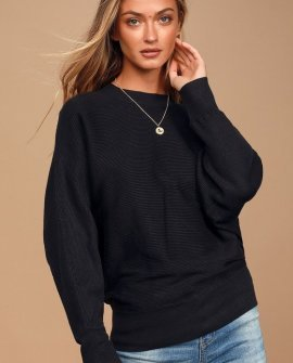 All Wrapped Up Black Ribbed Knit Dolman Sleeve Sweater Top