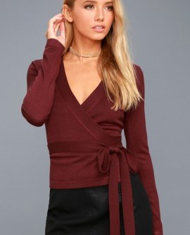 All Wrapped Up Burgundy Long Sleeve Sweater