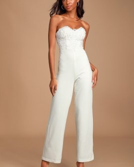 All Your Heart White Lace Strapless Jumpsuit