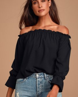 All in Good Fun Black Off-the-Shoulder Top