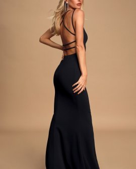All this Allure Black Strappy Backless Mermaid Maxi Dress
