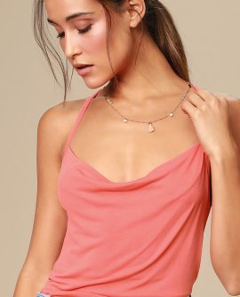 Allura Coral Pink Cowl Neck Backless Tank Top