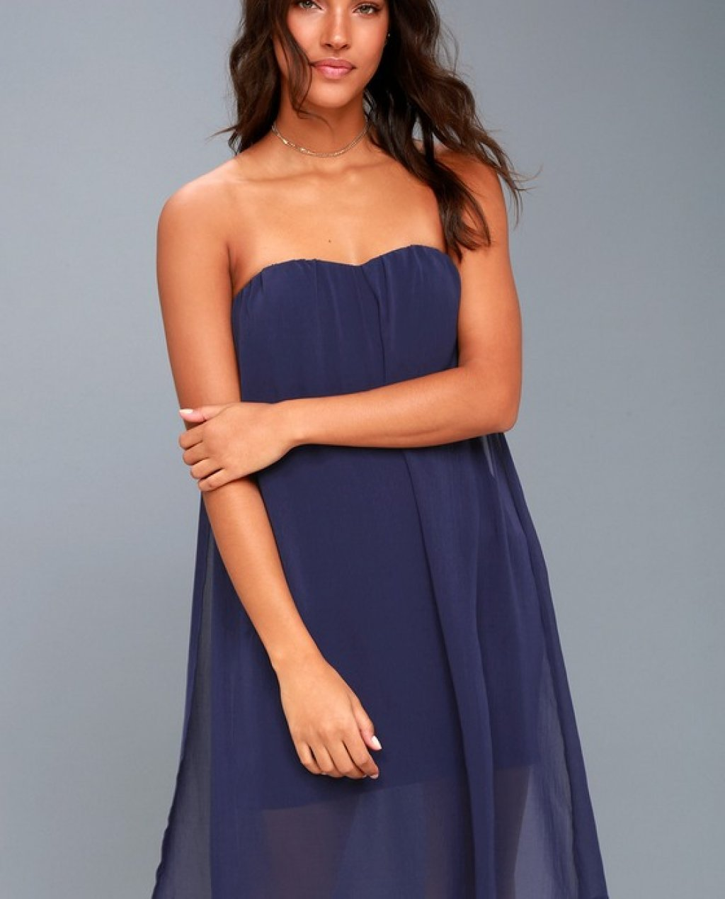 Allure of it All Navy Blue Strapless Dress