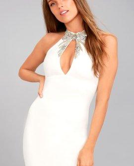 Alluring Evening White Beaded Bodycon Dress