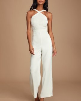 Ally White Embroidered Jumpsuit