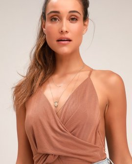 Always Appealing Camel Surplice Bodysuit