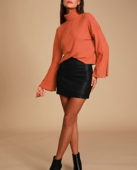Always Optimistic Rust Orange Knit Turtleneck Sweater Top
