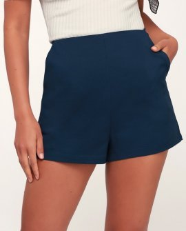 Always in Love Navy Blue High-Waisted Shorts