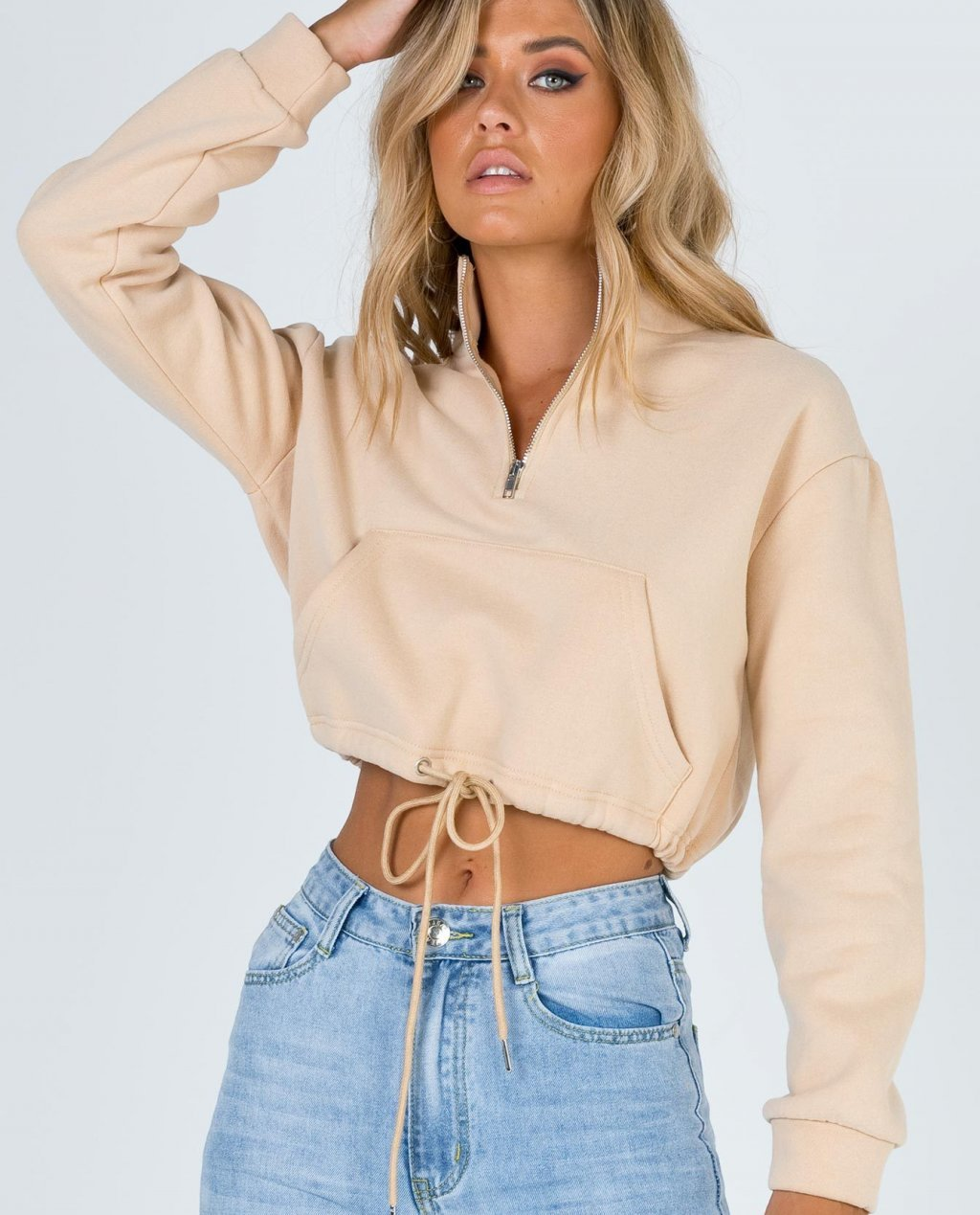 Amber Beige Drawstring Sweater