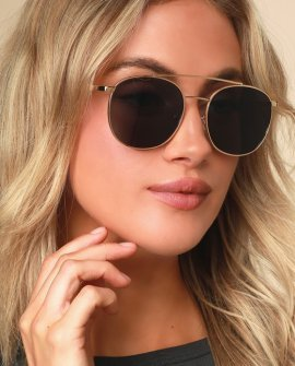 Amelia Black and Gold Aviator Sunglasses