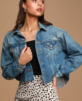Amelia Medium Wash Slouchy Trucker Jacket