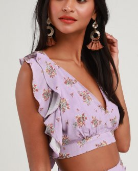 Anabelle Lavender Floral Print Ruffled Tie-Back Crop Top