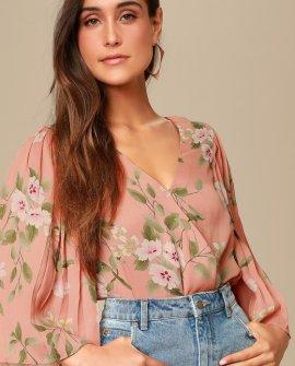Anders Dusty Peach Floral Print Kimono Sleeve Bodysuit