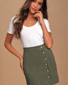 Andrews Olive Green Button Front Mini Skirt