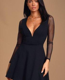 Angelic Attitude Black Long Sleeve Skater Dress
