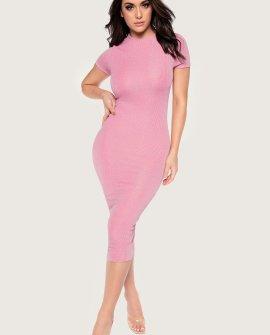 Angeline Shimmer Rib Short Sleeve Midi Dress