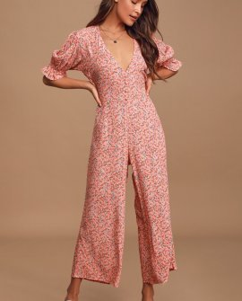 Anka Coral Pink Floral Print Puff Sleeve Wide-Leg Jumpsuit