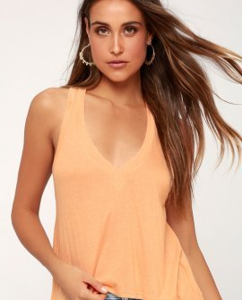 Annabelle Peach V-Neck Cropped Tank Top