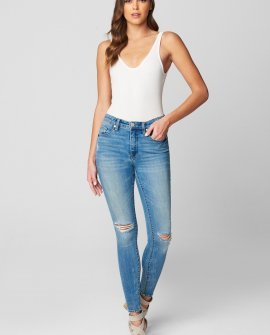 Anti-Viral Ripped Knee Bond Mid Rise Skinny Jeans
