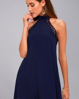 Any Sway, Shape, or Form Navy Blue Lace Halter Dress