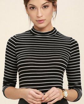 Anything is Posh-ible Black Striped Top