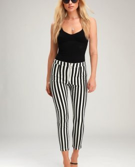 Aptitude Black and White Striped Zip-Front Cropped Skinny Jeans