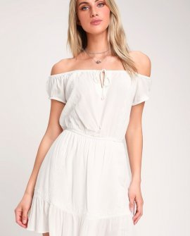 Arena Ivory Embroidered Off-the-Shoulder Mini Dress