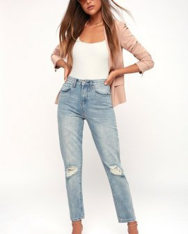Arroyo Light Wash Distressed High-Waisted Jeans