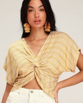 Artisan White and Yellow Twist-Front Top
