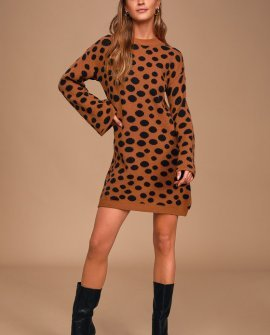 Aspire to Inspire Rust Brown Polka Dot Sweater Dress
