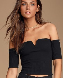 Astaire Black Ribbed Off-the-Shoulder Crop Top