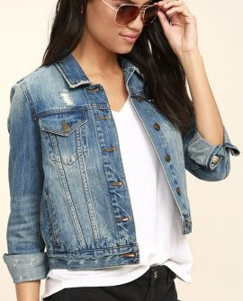 At Your Command Blue Distressed Denim Jacket