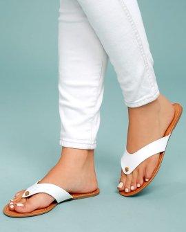 Athena White Thong Sandals