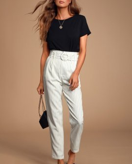 Audria White Pinstripe Belted Pants