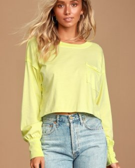 Austin Washed Lime Green Long Sleeve Cropped Tee