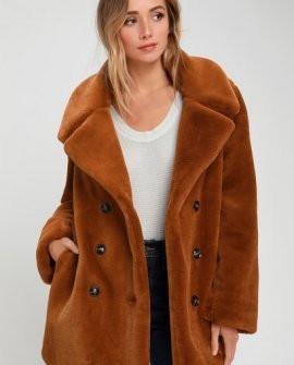 Avante Brown Faux Fur Double Breasted Coat