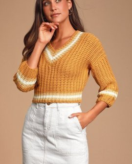 Avery Mustard Yellow Cropped Knit Sweater